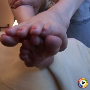 Dd haley: watch as lascivious babe haley shows off her perfect feet as she rubs them with lotion.