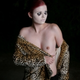 Goth tease Luna takes off her bra exposing her perky tits barely covered by  her leopard print jacket