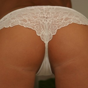 Chase The Hottie: Chase shows off her tight round ass in tiny white lace panties
