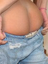 Cute teen Katie pulls down her jeans to prove shes not wearing any panties