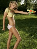 Daisy has a water fight in tiny panties and half a shirt