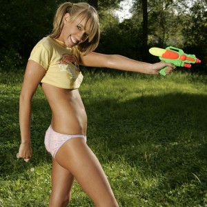 Daisy19: daisy has a water fight in petite panties and half a shirt.